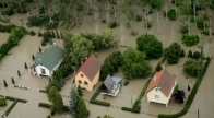 Aerial pictures of flooding along the Danube